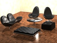 3d set chairs modern furniture model