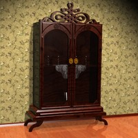 antique showcased wardrobe 3d max