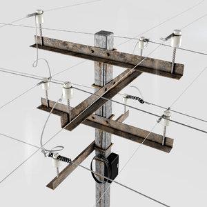3d post power line model