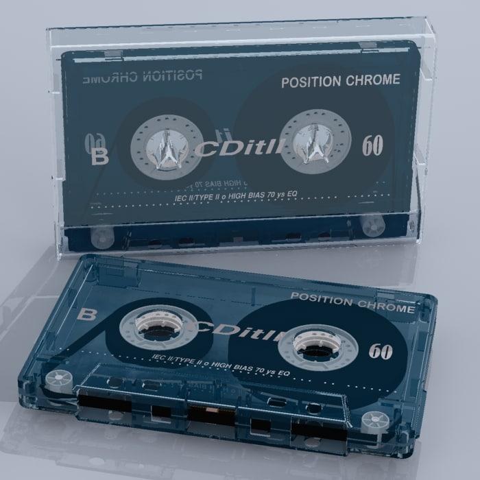 3d model music cassette