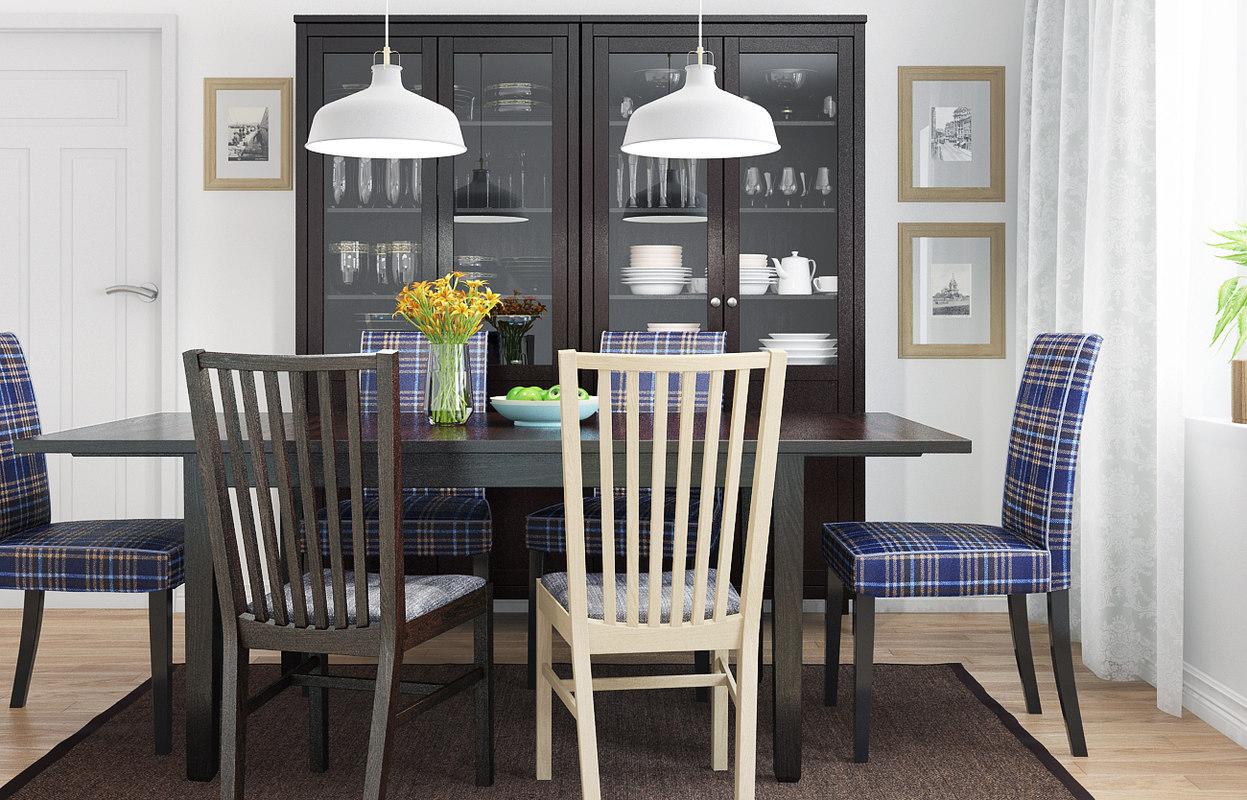 3d model ikea henriksdal dining room for Dining room 3d model
