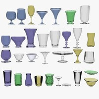 3d model glass cups plates