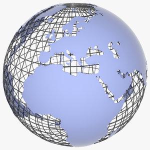 wire globe 3d model
