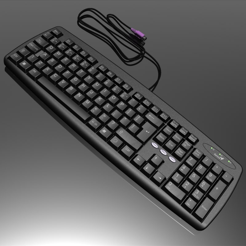 3d model of standard black keyboard