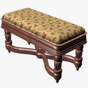 3d model antique bench