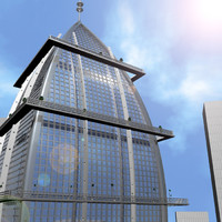 3d wedge-shaped skyscraper building model