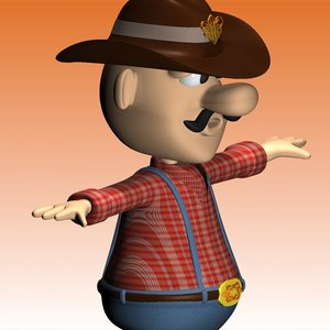 3d model cowboy character clothes