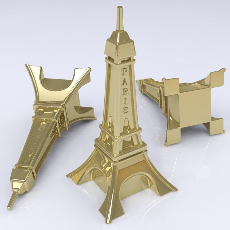 3ds metal eiffel tower figure