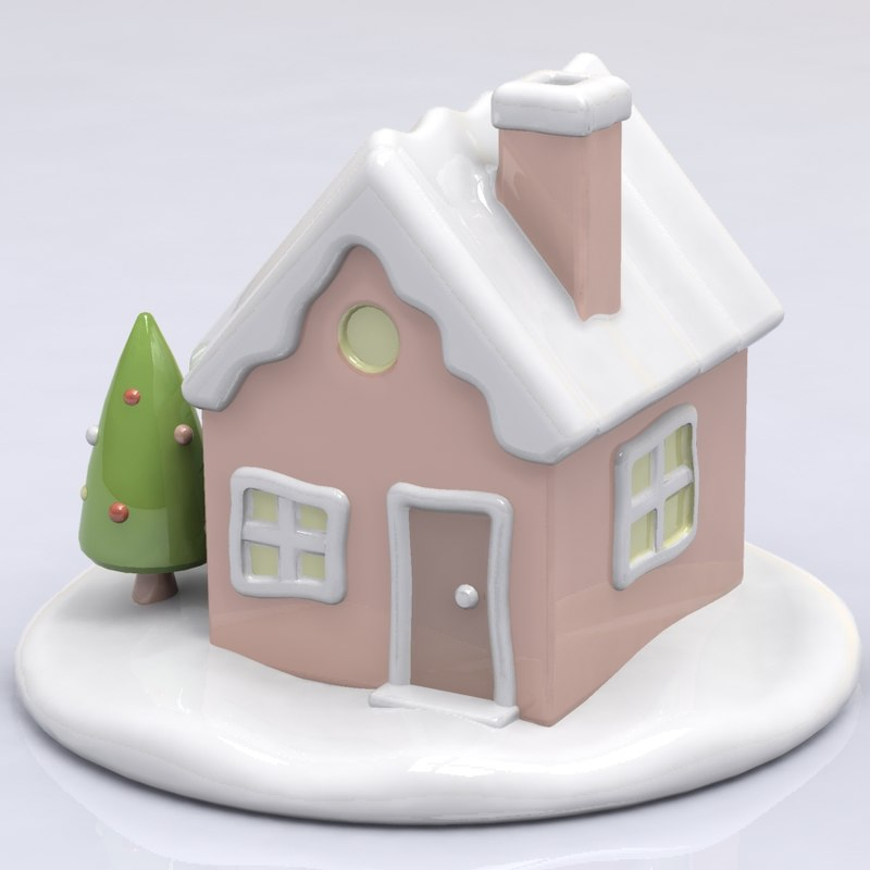 3d model porcelain winter house figure