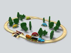 3d toy train set model