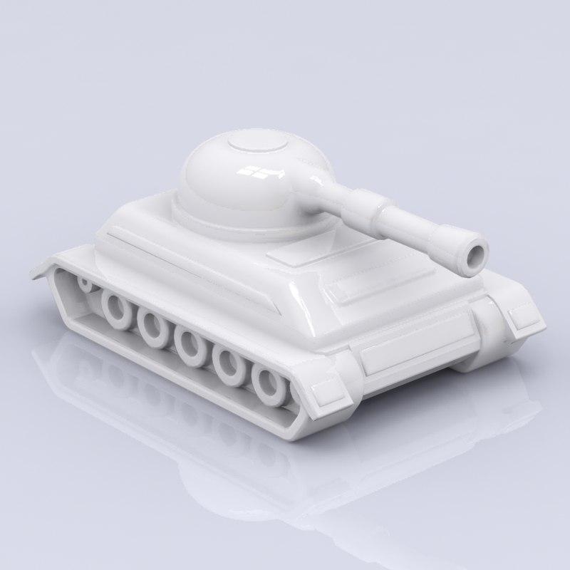 3d porcelain tank figure model