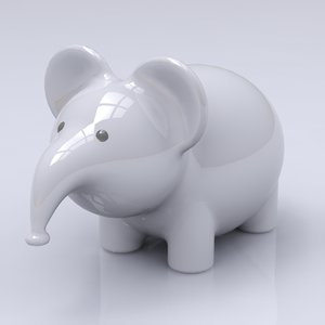 3ds max porcelain elephant figure