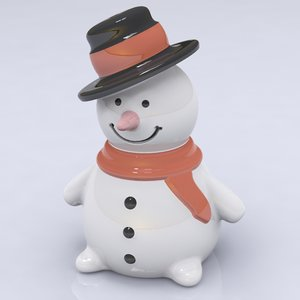 porcelain snowman figure 3d model
