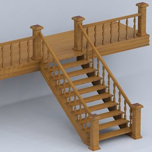 3d model wooden stairs