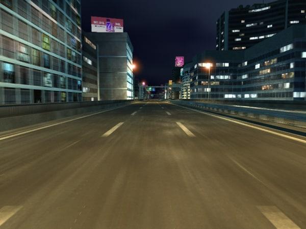 3d highway night version model