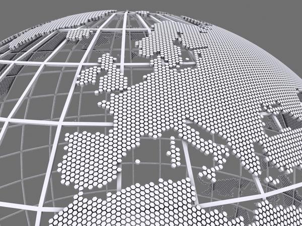 3d model wire globe hexagonal