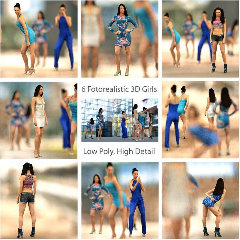 3d 6 photorealistic girls model
