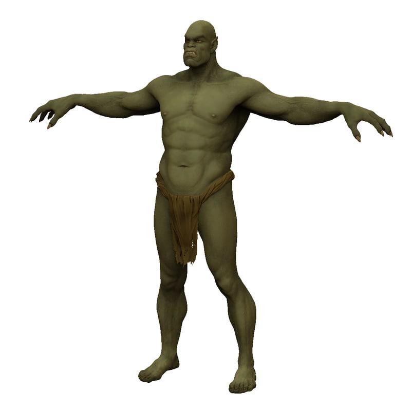 free orc man human 3d model