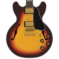 Guitar: Gibson ES Hollow Body: Triburst Finish
