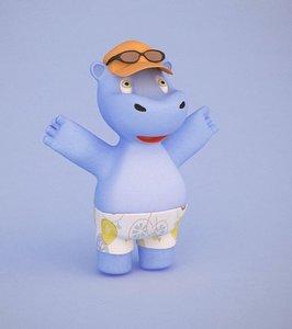 3d model hippo cartoon