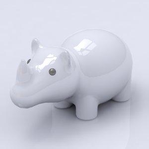 maya porcelain rhino figure