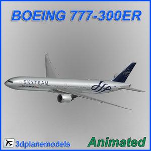 boeing 777-300er aircraft landing 3d max