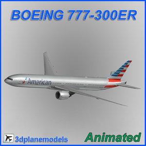 boeing 777-300er aircraft landing 3d 3ds