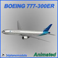 3d boeing 777-300er aircraft landing model
