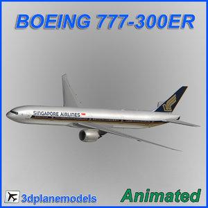 3d model boeing 777-300er aircraft landing