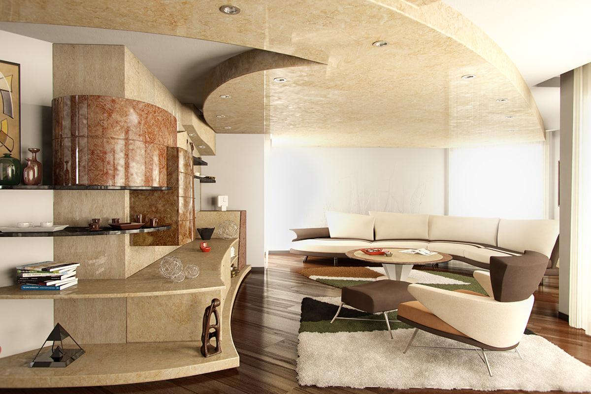 3d modern house interior apartment