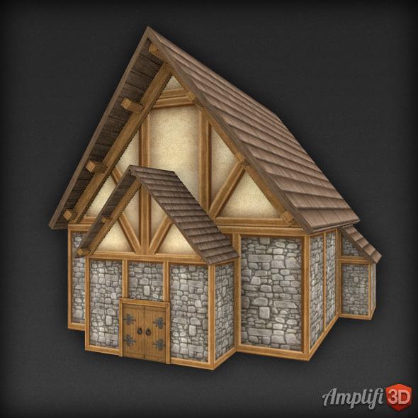 3d model fantasy barn house