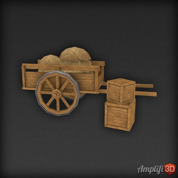 3d model of cart hay