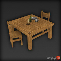 Low Poly Table Set
