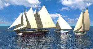 3d c4d sailboats boat