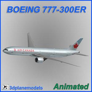 boeing 777-300er aircraft landing 3d model