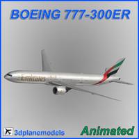 3d boeing 777-300er aircraft landing