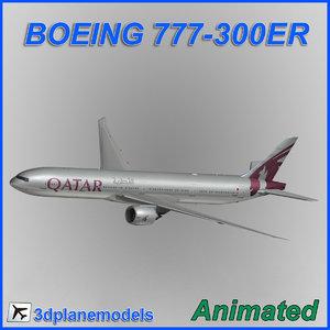3dsmax boeing 777-300er aircraft landing