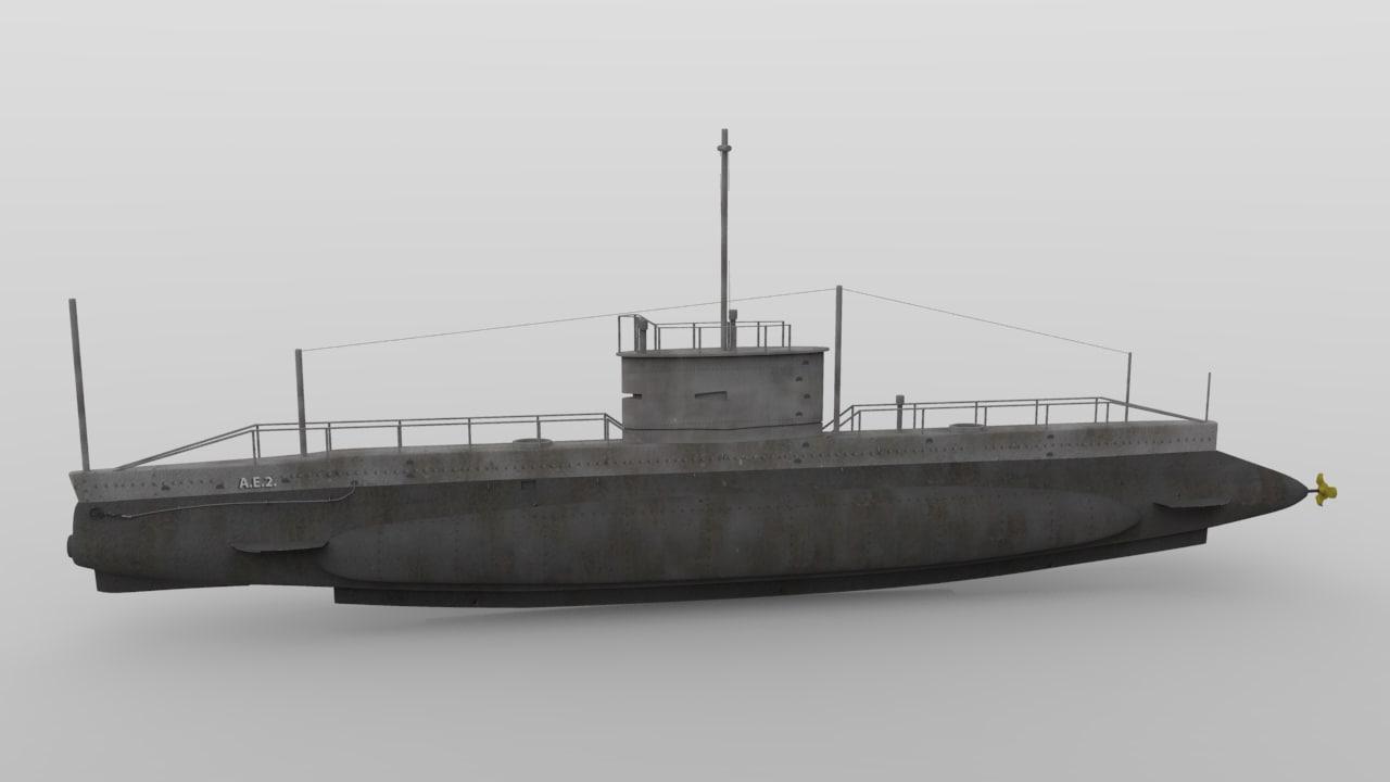 3dsmax hmas ae2 submarine australia