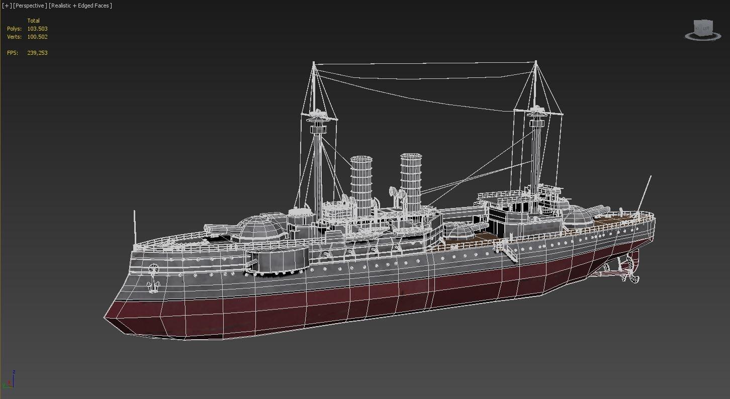 battleship ship barbaro 3d model