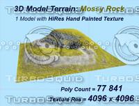 3d model realistic terrain mossy rock