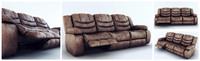 sofa ashley revolution burgundy 3d model