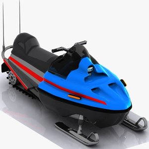 cartoon snowmobile snow 3d model