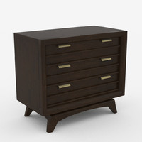 3d 3 drawer nightstand mid-century model