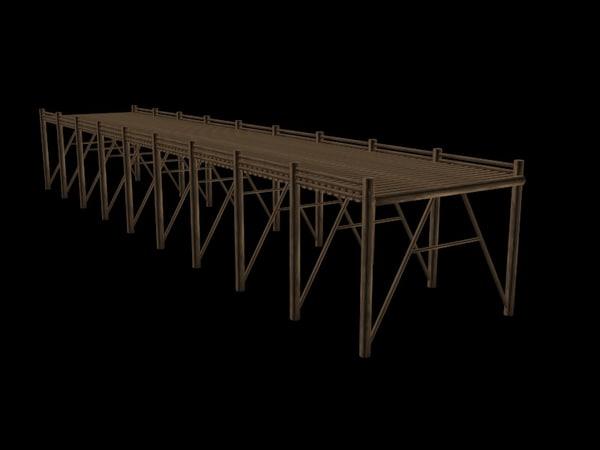 free wooden bridge 3d model