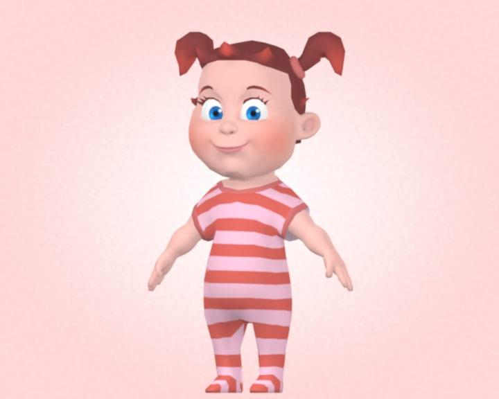 3d model cartoon baby girl