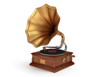 old vintage gramophone 3d max