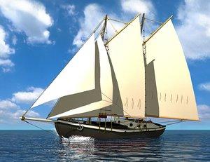 schooner 3d model