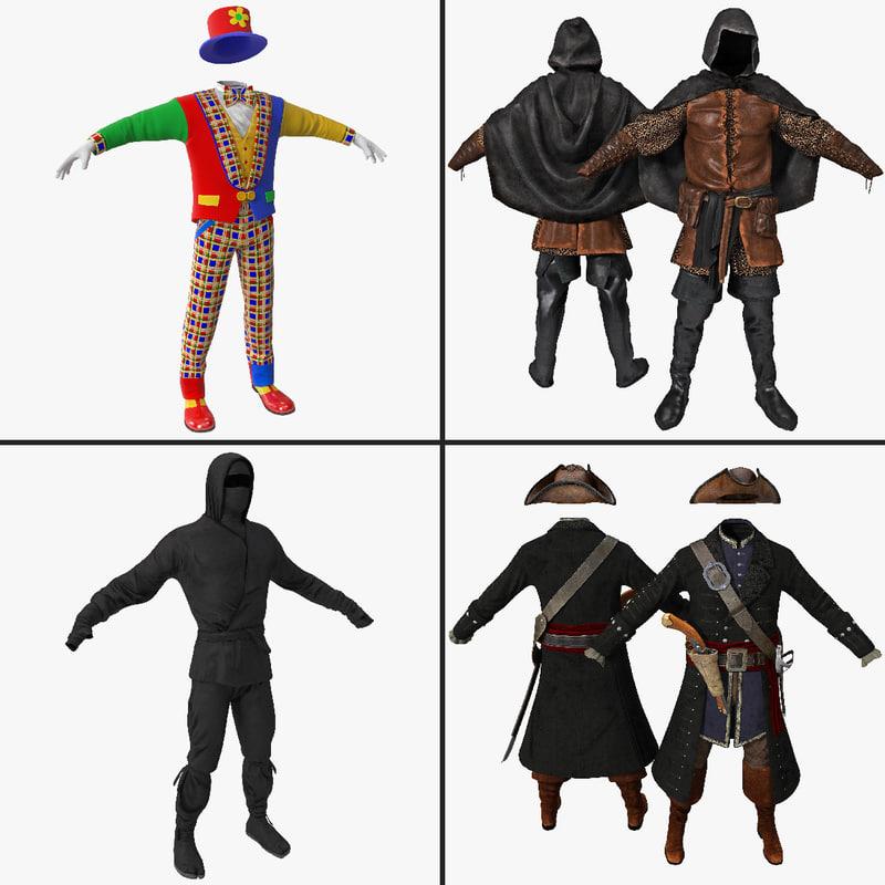 c4d costume clown clothes