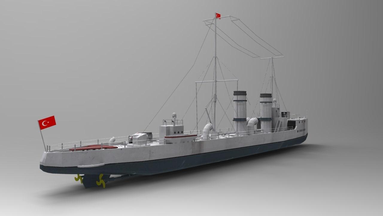 muavenet-i milliye battleship 3d obj