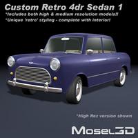 sedan retro 3d model